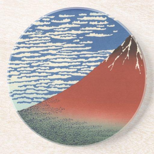Hokusai Art painting Mountains Drink Coaster