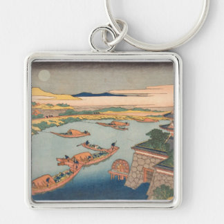 Hokusai Art painting Mountains Key Chain