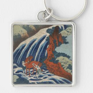 Hokusai Art painting Mountains Keychain