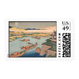 Hokusai Art painting Mountains Postage Stamp
