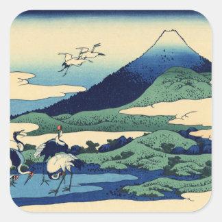 Hokusai Art painting Mountains Square Sticker