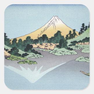 Hokusai Art painting Mountains Square Stickers