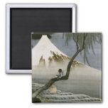 Hokusai Boy and Mt.Fuji Vintage Japanese 2 Inch Square Magnet