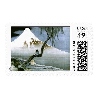 Hokusai Boy and Mt.Fuji Vintage Japanese Stamps