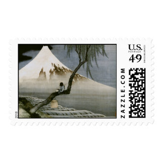 Hokusai Boy and Mt.Fuji Vintage Japanese Postage Stamp