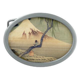 Hokusai Boy Viewing Mount Fuji Japanese Vintage Belt Buckles