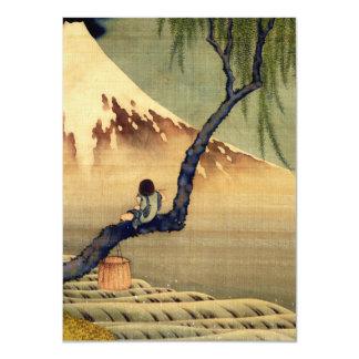 Hokusai Boy Viewing Mount Fuji Japanese Vintage Card