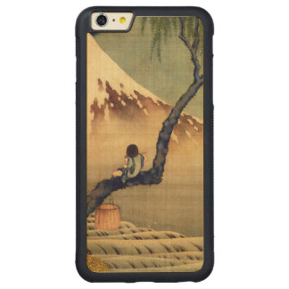 Hokusai Boy Viewing Mount Fuji Japanese Vintage Carved Maple iPhone 6 Plus Bumper Case