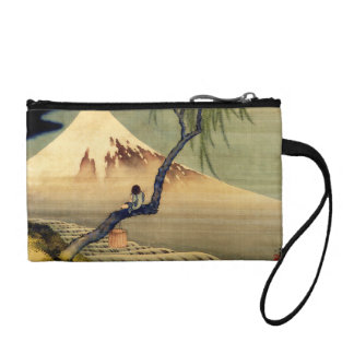 Hokusai Boy Viewing Mount Fuji Japanese Vintage Coin Purse