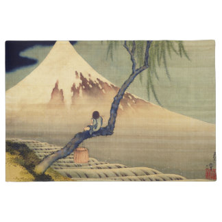 Hokusai Boy Viewing Mount Fuji Japanese Vintage Doormat