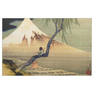 Hokusai Boy Viewing Mount Fuji Japanese Vintage Fabric