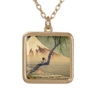 Hokusai Boy Viewing Mount Fuji Japanese Vintage Gold Plated Necklace