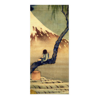"Hokusai Boy Viewing Mount Fuji Japanese Vintage 4"" X 9.25"" Invitation Card"