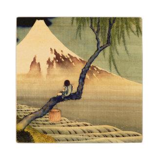 Hokusai Boy Viewing Mount Fuji Japanese Vintage Maple Wood Coaster