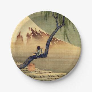Hokusai Boy Viewing Mount Fuji Japanese Vintage Paper Plate