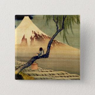 Hokusai Boy Viewing Mount Fuji Japanese Vintage Pinback Button