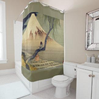 hokusai boy viewing mount fuji japanese vintage shower curtain
