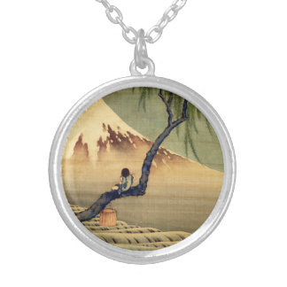 Hokusai Boy Viewing Mount Fuji Japanese Vintage Silver Plated Necklace