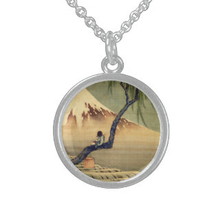 Hokusai Boy Viewing Mount Fuji Japanese Vintage Sterling Silver Necklace