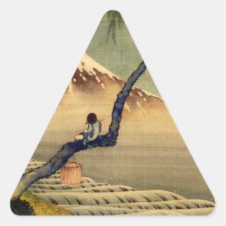 Hokusai Boy Viewing Mount Fuji Japanese Vintage Triangle Sticker