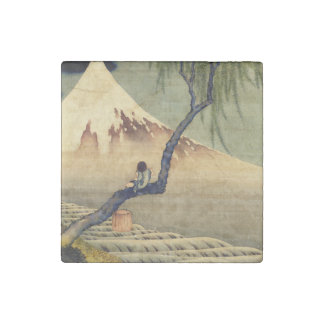 Hokusai Boy Viewing Mount Fuji Japanese Vintage Stone Magnet