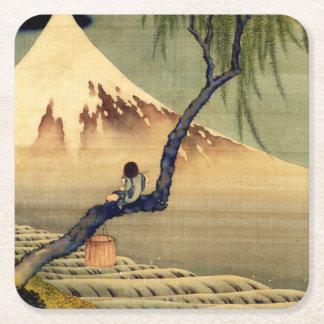 Hokusai Boy Viewing Mount Fuji Japanese Vintage Square Paper Coaster