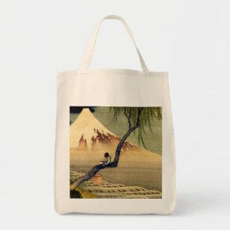 Hokusai Boy Viewing Mount Fuji Japanese Vintage Tote Bag