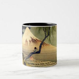 Hokusai Boy Viewing Mount Fuji Japanese Vintage Two-Tone Coffee Mug
