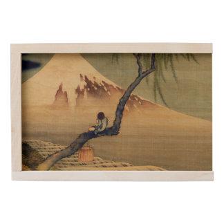 Hokusai Boy Viewing Mount Fuji Japanese Vintage Wooden Keepsake Box