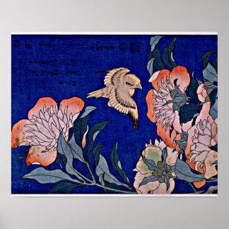 Hokusai: Canario y Peony Póster
