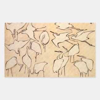 Hokusai Cranes a los pegatinas Rectangular Altavoces