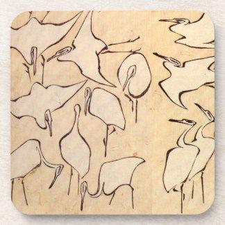 Hokusai Cranes Coasters