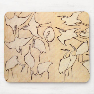 Hokusai Cranes el cojín de ratón Alfombrillas De Ratón