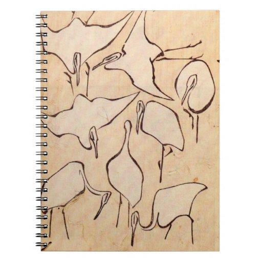 Hokusai Cranes el cuaderno