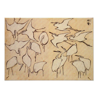 Hokusai Cranes el poster