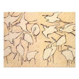 Hokusai Cranes invitaciones Anuncio