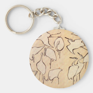Hokusai Cranes Basic Round Button Keychain