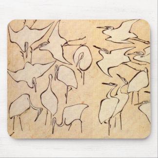 Hokusai Cranes Mouse Pad
