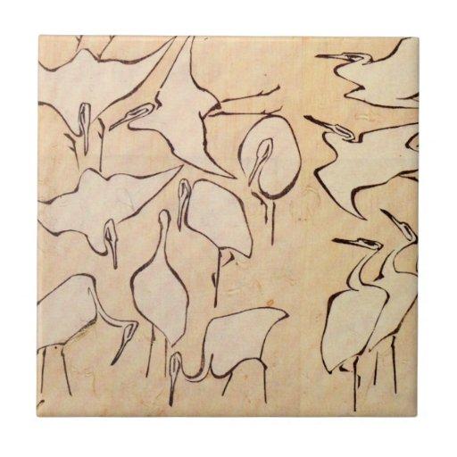 Hokusai Cranes Tile