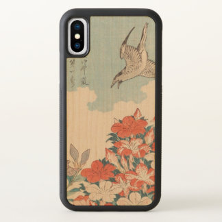 Hokusai Cuckoo and Azaleas Vintage Art GalleryHD iPhone X Case