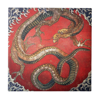 Hokusai Dragon Ceramic Tile