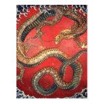 Hokusai Dragon Postcard
