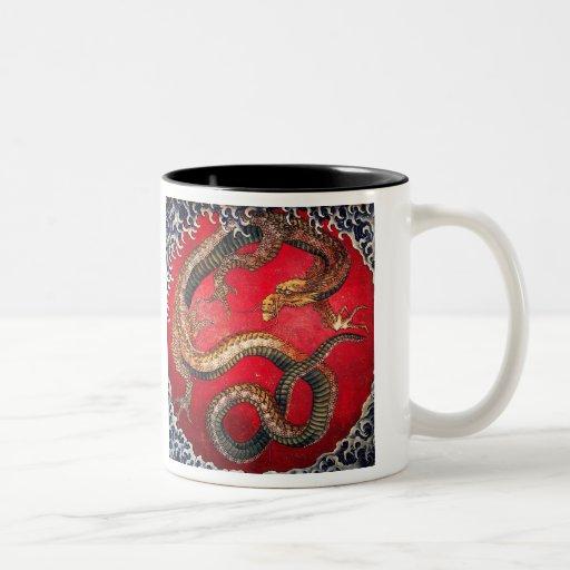 Hokusai Dragon Two-Tone Coffee Mug