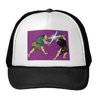 Hokusai duelers, glowing swords trucker hat