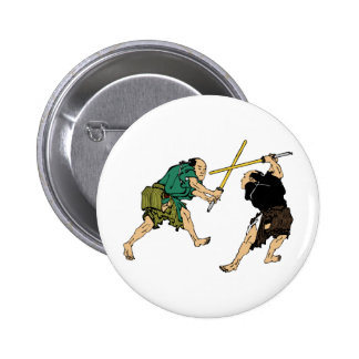 Hokusai duelers in color 2 inch round button