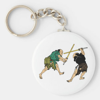 Hokusai duelers in color keychain