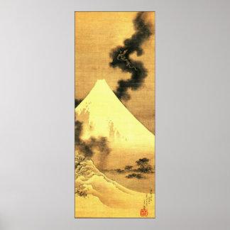 Hokusai el dragón del humo que escapa el monte Fuj Póster