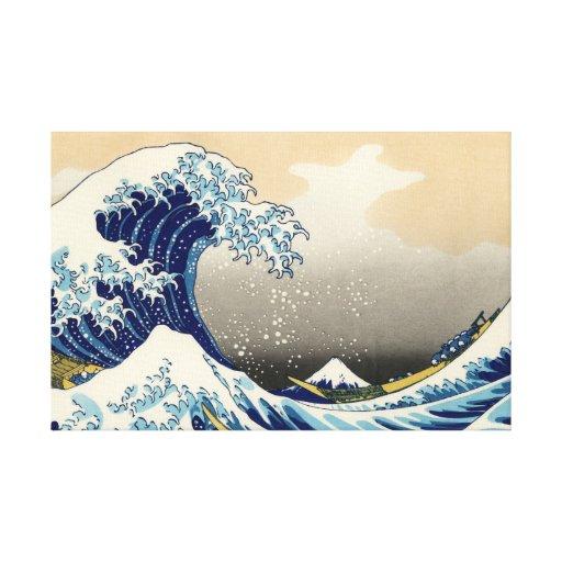 Hokusai el gran abrigo de la lona de la onda impresión en lienzo
