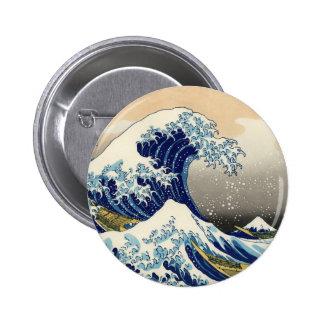 Hokusai el gran botón de la onda pin redondo de 2 pulgadas