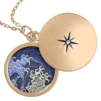 Hokusai Feminine Wave Japanese Vintage Fine Art Gold Plated Necklace